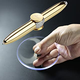 SMOOTHERPRO Fidget Spinner Pen with LED Light to Help ADHD Stress Reducer Thinking Ballpoint Pen Gift Pen Anti Stress Anxiety Infinity with Gift Box Color Gold