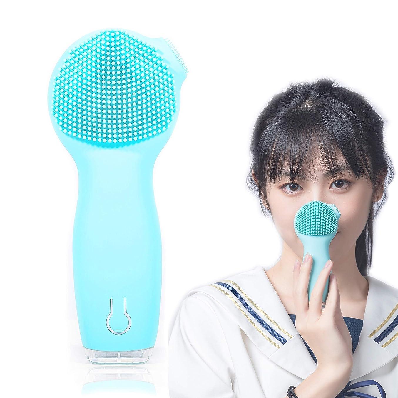 豊富な競う富洗顔ブラシ 音波電動 UGS優肌詩 二つ振動モード 3段階スピード調節 日本語取扱書付 シリコン 毛穴すっきり ダブル電動洗顔器 IPX7防水 角質除去 透明肌へ (ブルー)