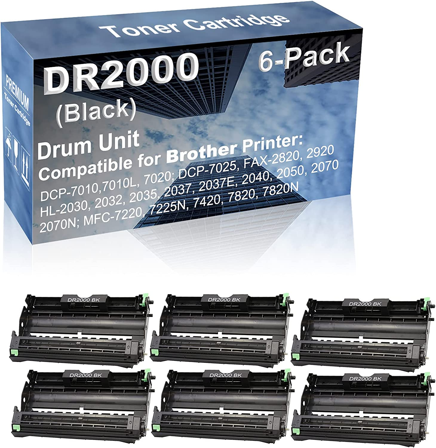 6-Pack Compatible DR2000 Drum Kit use for Brother DCP-7010, DCP-7010L, DCP-7020, DCP-7025, FAX-2820, FAX-2920, HL-2030 Printer (Black)