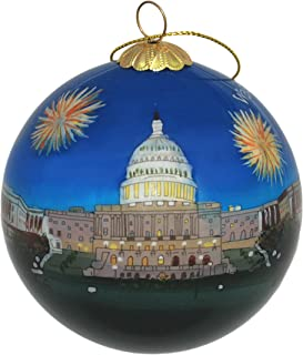 Hand Painted Glass Christmas Ornament - Washington D. C. – U.S. Capitol Fireworks