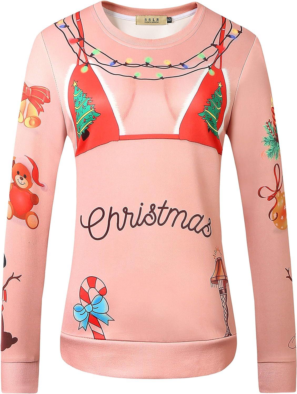 SSLR Women's Xmas Holiday Pullover Funny Ugly Christmas Sweatshirt