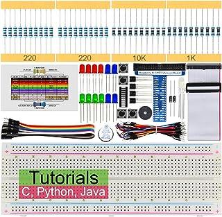 Freenove Raspberry Pi 4 B 3 B+ 400用の基本的なスターターキット、147ページの詳細なチュートリアル、Python C Javaコード、146アイテム、17プロジェクト、無はんだブレッドボード