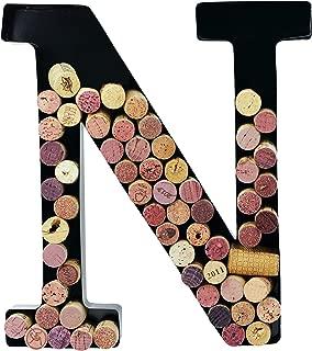 Metal Wine Cork Holder Monogram Decorative Wall Letter (N)