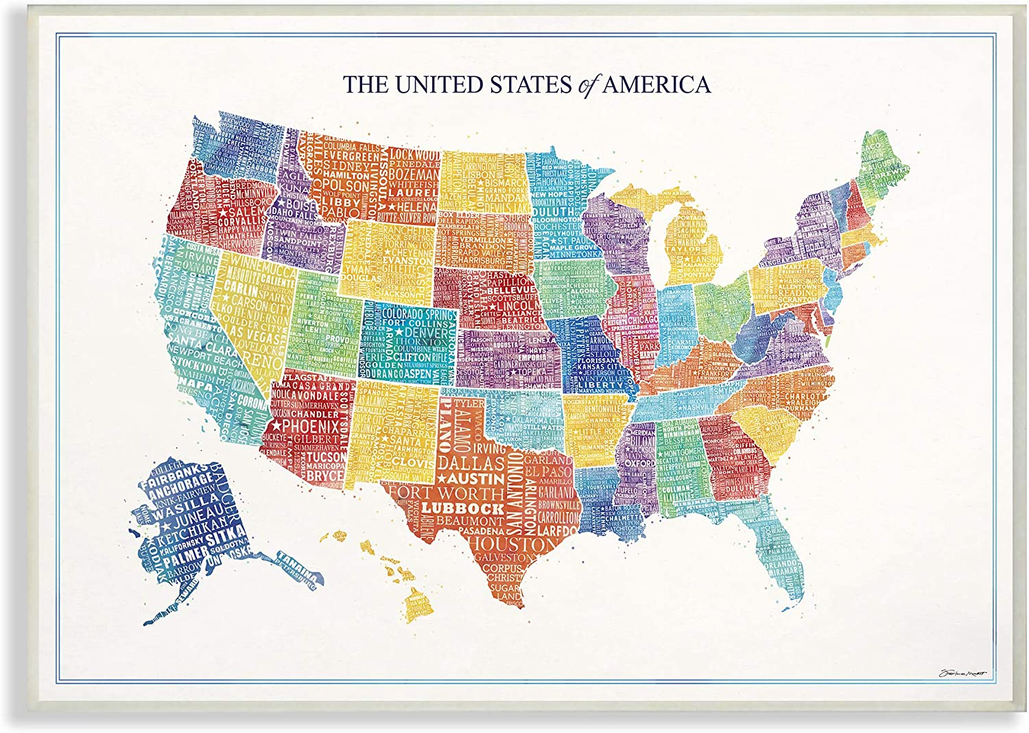 The Stupell Home Decor Bright Multicolord and Lettered US Map Wall Plaque Art, 13 X 19 Multi-color