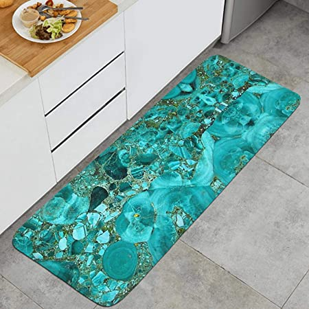 Amazon Com 47 18 Long Kitchen Mat Marble Turquoise Blue Gold Microfiber Rubber Backing Non Slip Water Absorbent Anti Fatigue Memory Foam Kitchen Rug Kitchen Dining