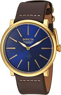 Invicta Men's I- I-Force Stainless Steel Quartz Watch with Leather Calfskin Strap, Brown, 24 (Model: 22934)