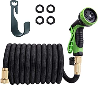TaoTronics Garden Hose 50ft Expandable Water Hose Flexible, Include 10 Function Spray Nozzle – with Double Latex Core, 3/4 Solid Brass Fittings