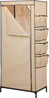 Honey-Can-Do WRD-01270 27-Inch Wide Storage Closet with 9-Side Storage and Shoe Bins, Tan