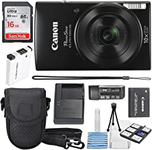Canon PowerShot ELPH 190 IS Digital Camera (Black) with 10x Optical Zoom and Built-In Wi-Fi with 16GB SDHC + Replacement battery + Protective camera case Along with Deluxe Cleaning Bundle