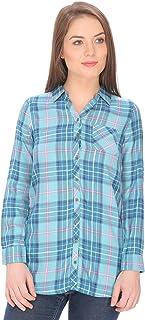 DAMEN MODE Women Turquoise Check Rayon Shirt