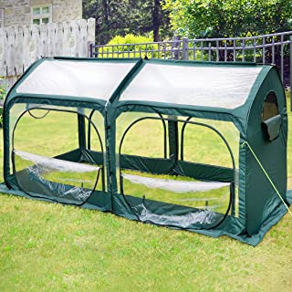 Quictent Pop up Greenhouse Passed SGS Test Eco-Friendly Fiberglass Poles Overlong Cover 6 Stakes 98 x 49 x 53 Inches Mini Portable Green House W/ 4 Zipper Door (Green)