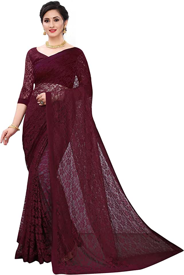 Indian Salacia Designer Plain Lace Bordered Net Party & Casual Wear Women Saree With Unstiched Blouse Piece Saree