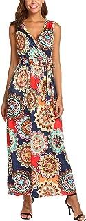 Womens Summer Casual Bohemian Printed Wrap V-Neck Sleeveless Long Maxi Dress with Belt
