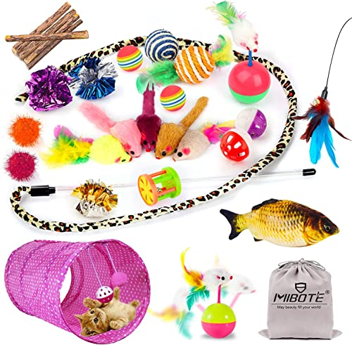 popular Mibote 28 Pcs Cat Toys Kitten Toys Assorted, Cat Tunnel Catnip Fish Feather Teaser Wand Fish Fluffy online Mouse Mice Balls and Bells Toys for Cat Puppy Kitty outlet online sale with Storage Bag online
