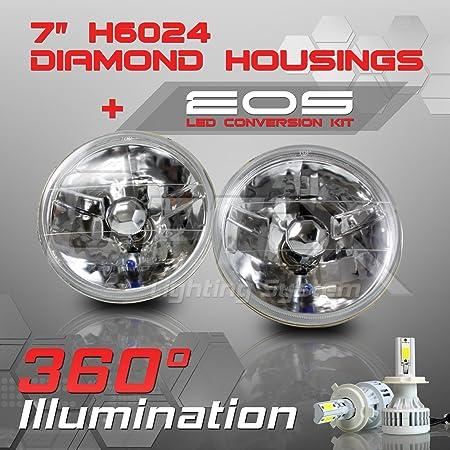 """7/"""" H6024 Halogen H4 Headlight Light Bulb Diamond Crystal Clear Headlamp Pair"""