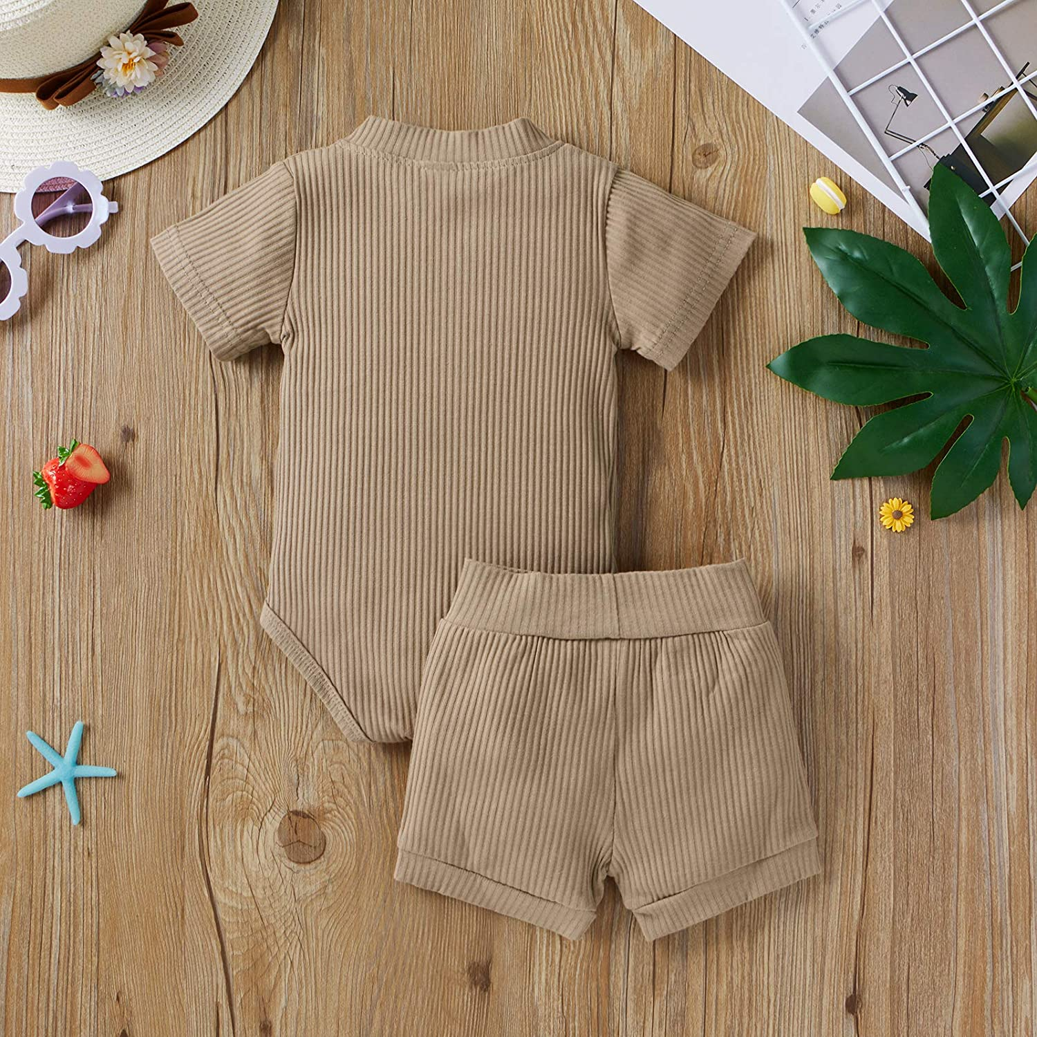 Baby Boy Girl Summer Clothes Pajamas Sets Unisex Toddler Matching Outfits Romper Top and Shorts