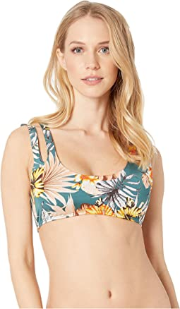 Joules Da Donna Bonnie Halter Neck Bikini Top in Navy Multi Spot