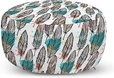 Lunarable Modern Pouf Cover with Zipper, Animal Feathers Sketchy with Colored Background Artwork Print, Soft Decorative Fabri