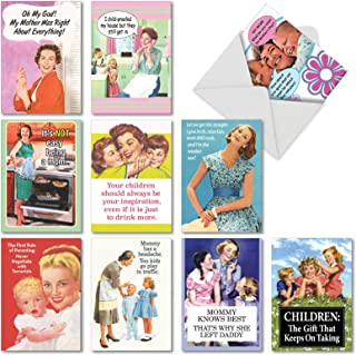 Memories of Motherhood': Assorted Box of 10 Funny Mother's Day Cards With retro images of mom and kids, with Envelopes (10 Designs, 1 Card Per Design) AC6783MDG-B1x10