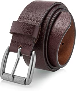 LUCIANO Classic 38mm Cowhide Genuine Leather with Single Buckle Dress Belt for Men