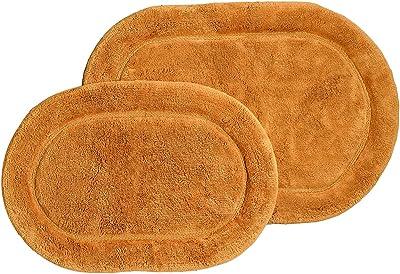 SUPERIOR Bath Rugs Set Cotton for Bathroom Non Slip Oval Design, 2 Piece, Rust