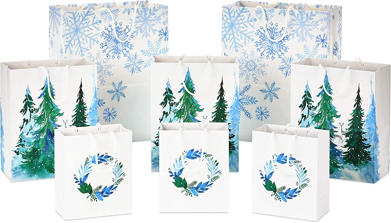 Weddings Recyclable White with Wreaths Hanukkah 8 Bags: 3 Small 6, 3 Medium 9, 2 Large 13 Birthdays Snowflakes and Trees for Christmas Hallmark Sustainable Holiday Gift Bags
