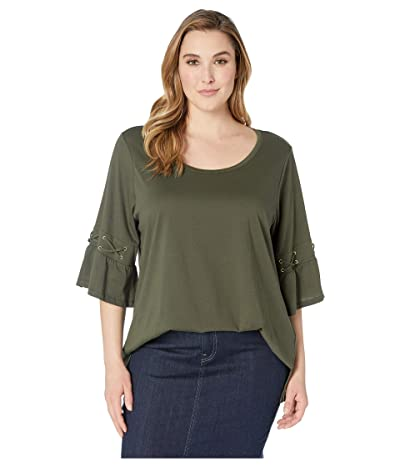 MICHAEL Michael Kors Plus Size Laced Sleeve Flare Tee (Ivy) Women