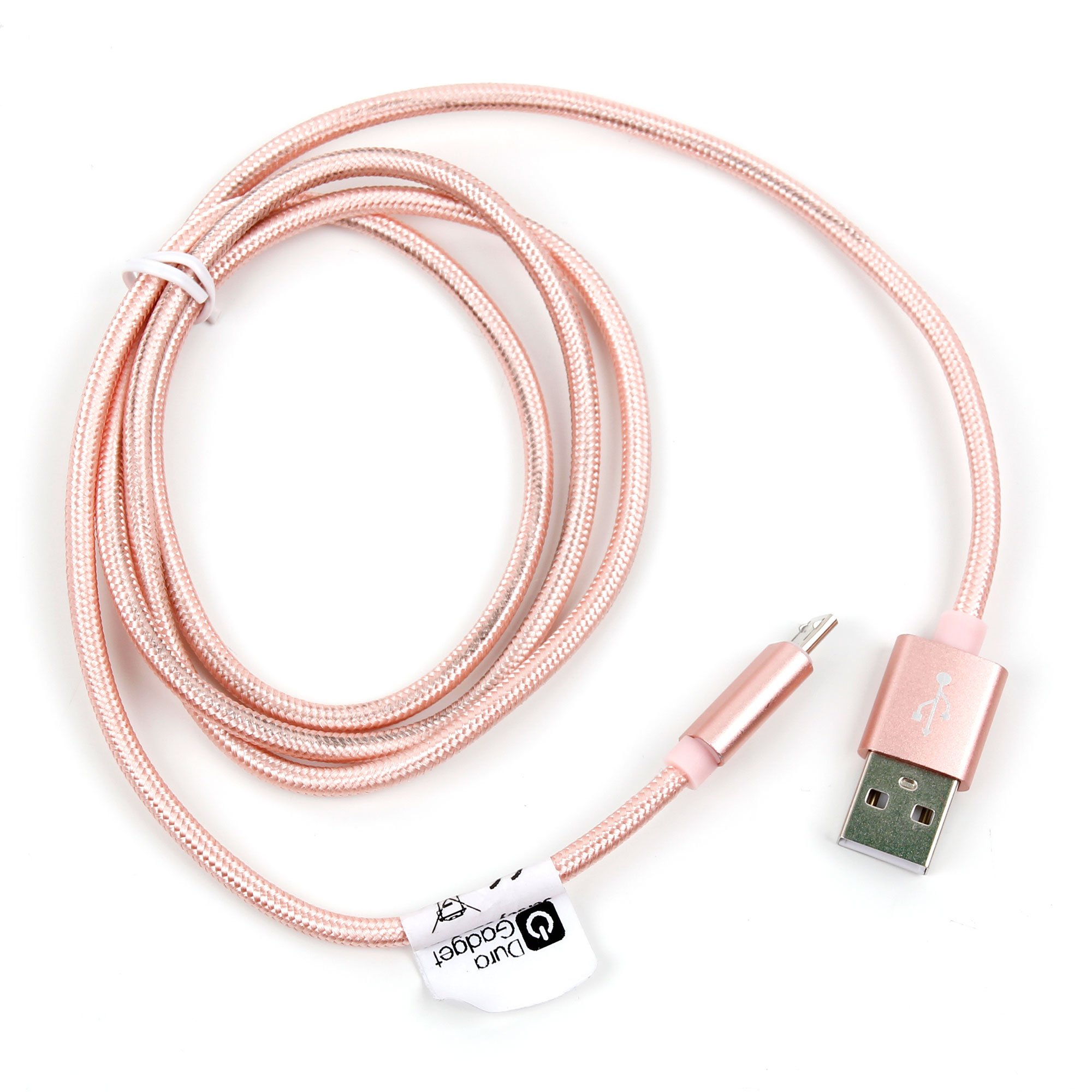 DURAGADGET Rose Gold Micro USB Data Sync Cable Compatible with VTIN Rocker and VTIN Punker Wireless Speaker