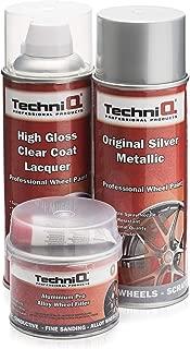 TechniQ - Kit de Pintura para Llantas de aleación metálica (400 ml, Revestimiento Transparente Brillante y Relleno de Llantas de Aluminio, 250 g)