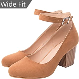 9651671b8209 Luoika Women s Wide Width Heel Pump - Ankle Buckle Strap Round Closed Toe  Dressing Shoes.