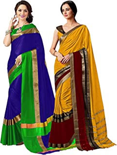 Pack of Two Sarees for Indian Women Cotton Art Silk Printed Weaving Border Saree