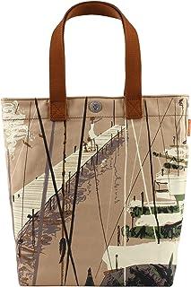 UFUKURO Tasche Damen aus Canvas für Arbeit Schule Reise Strand | Mädchen Schultertasche mit Coolen Motiven | große Handtasche für den Alltag | Veganes Shopper Bag aus robuste Bio Baumwolle Segeltuch Beige