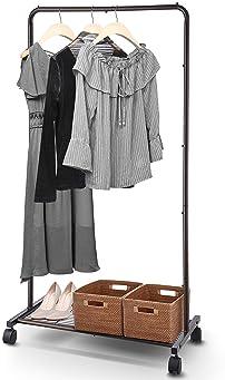 Simple Trending Standard Clothes Garment Rack, Clothing Rolling Rack with Mesh Storage Shelf on Wheels, Bronze