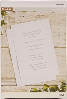 Simplicity White Wedding Invitation Cards with Envelopes, 100pc, 5.5'' W x 8.5''H - White