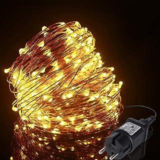 Guirlande Lumineuse 20m 200LED, ALED LIGHT Guirlande LED Blanc Chaud Fil de Cuivre Étanche IP65 avec Adapteur Alimentatio...