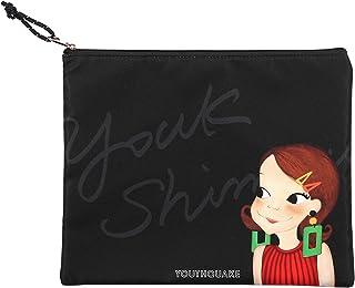 YOUKSHIMWON女性フラットメイクポーチ旅行化粧品バックオーガナイザケース (Black Ria, Small) [並行輸入品]
