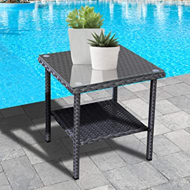 Outdoor PE Wicker Side Table - Patio Rattan Garden Coffee End Square Table with Glass Top Furniture, Black