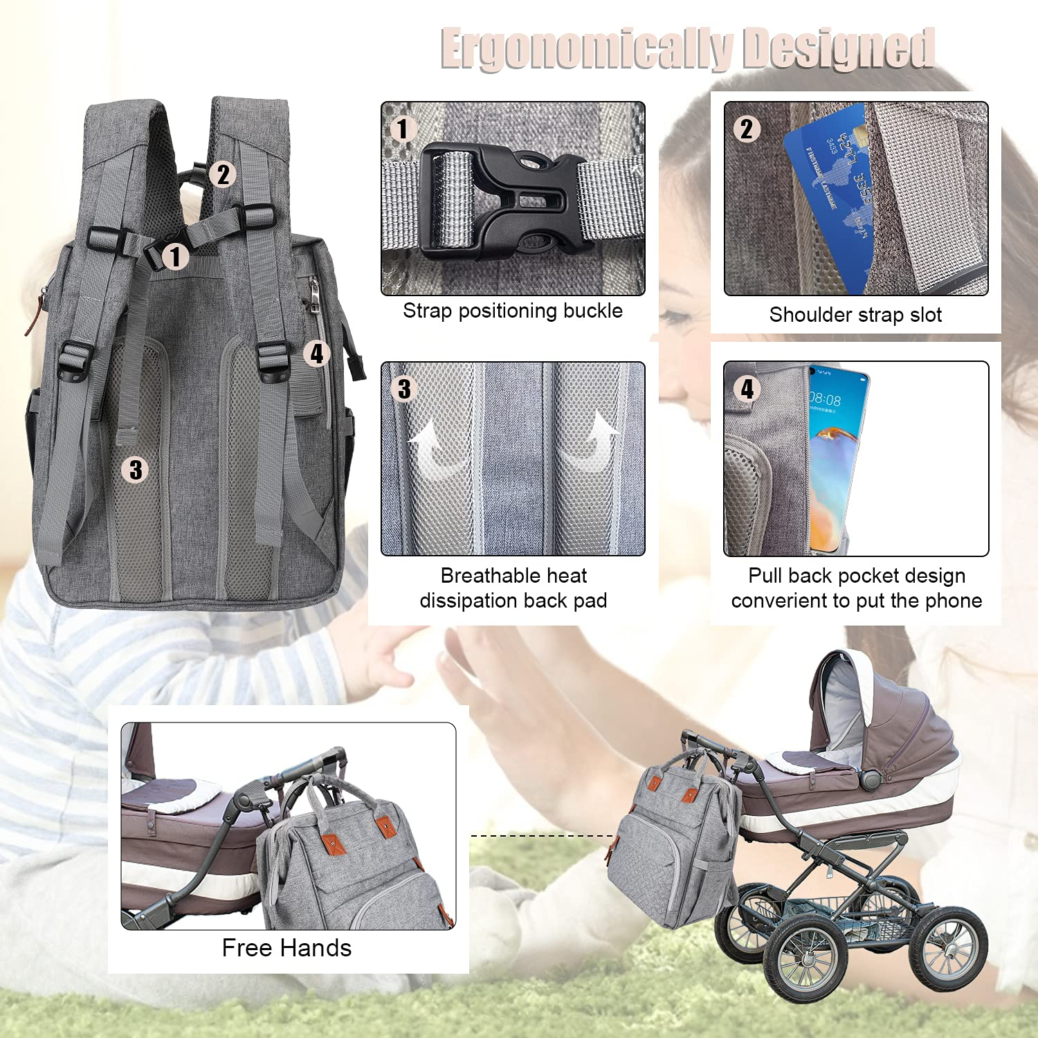 Puninoto Diaper Bag, Foldable Diaper Bag Tote with Changing Station, Portable Baby Travel Diaper Bag Backpack, Baby Crib with Sunshade Mosquito Net, Large Capacity Multi-Function Waterproof (Grey)