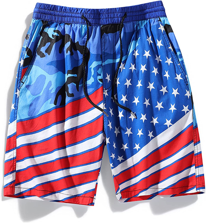 Segindy Men's Fashion Personality Printed Sports Shorts Summer L