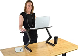 WorkEZ Cool Adjustable Laptop Cooling Stand & Lap Desk Tray for Bed Couch with 2 Fans 3 USB Ports Mouse Pad. Ergonomic aluminum height tilt angle macbook riser portable standing desk converter,Black