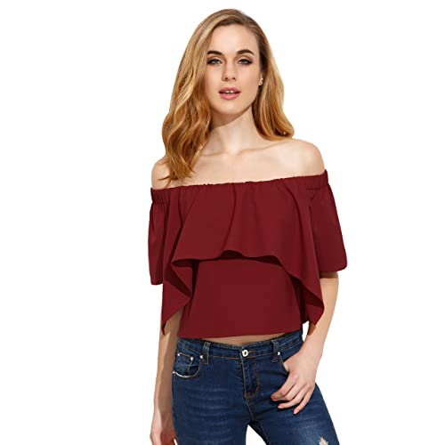 f23d2ad514 SheIn Women's Off Shoulder Ruffle Sweet Crop Blouse Top Medium Burgundy