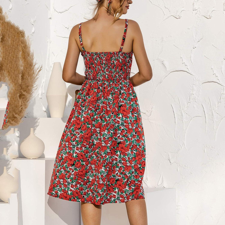 JPLZi Women's Sleeveless Adjustable Strappy Summer Beach Swing Dress Casual Floral Print Bandage Hawaiian Mini Dresses