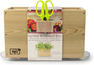 Architec Homegrown Gourmet Window Box, Cedar Grow Box with Clear Tray and Herb Snip Scissors