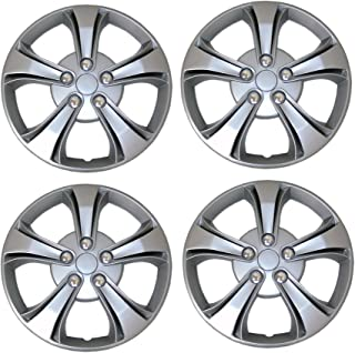 TuningPros WSC3-616S15 4pcs Set Snap-On Type (Pop-On) 15-Inches Metallic Silver Hubcaps Wheel Cover