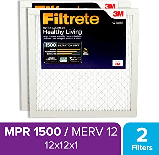 Filtrete 12x12x1, AC Furnace Air Filter, MPR 1500, Healthy Living Ultra Allergen, 2-Pack