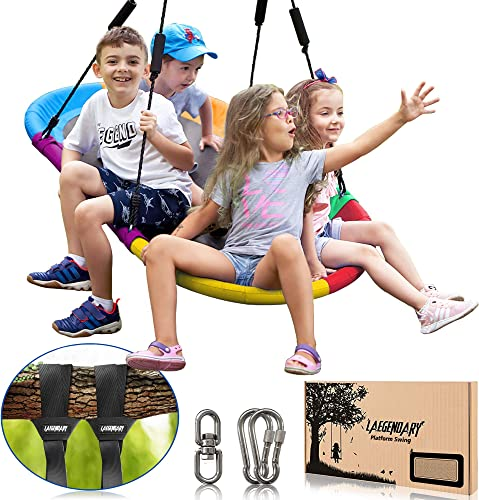 popular 60 outlet online sale Inch Platform Tree Swing for Kids and Adults – discount Giant Flying Outdoor Indoor Saucer Hammock – Large Surf Tire Swingset Accessories Toys - 2 Straps, 2 Carabiners, 1 Swivel - 350 Lbs Yard Swings Set outlet online sale