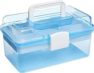 "MyGift 10 ""Clear Light Blue پلاستیکی چند منظوره قابل حمل Handled Organizer جعبه ذخیره سازی / مورد w / سینی متحرک"