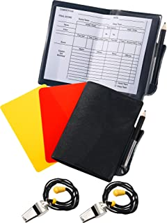 Blulu 2 Sports Soccer Referee Card Set Red Card Yellow Card with 2 Pieces Metal Referee Coach Whistles