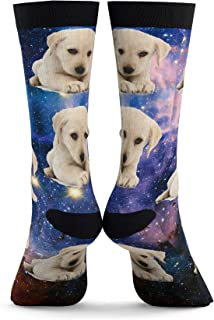 Custom Pets Picture Socks in Space Style - Put Your Pet on Custom Socks (One size) Dog Socks, Cat Socks, Pet Socks Customized, Photo Socks, Custom Dog Socks
