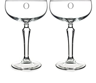 (O) - Cathy's Concepts Personalised Champagne Coupe Toasting Flutes, Set of 2, Letter O